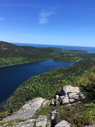 View of Jordan Pond from Penobscot Mountain, Acadia National Park, Maine