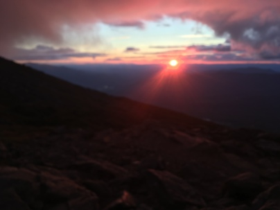 Blurry pink sunset from Lakes of the Clouds Hut